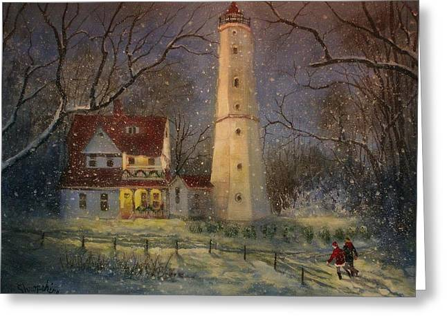 Milwaukee's North Point Lighthouse Greeting Card by Tom Shropshire
