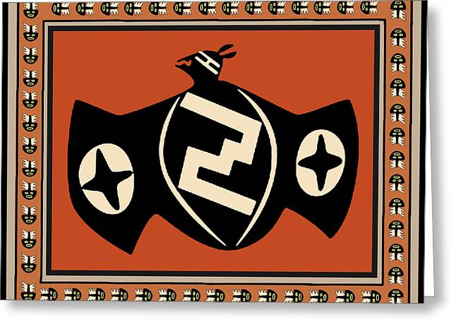Greeting Card featuring the digital art Mimbres Tribal Bat Spirit by Vagabond Folk Art - Virginia Vivier