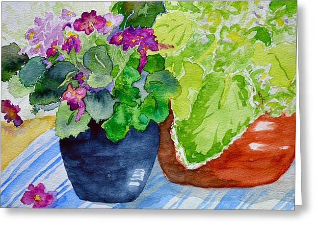 Mimi's Violets Greeting Card by Beverley Harper Tinsley