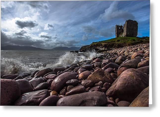 Minard Castle On Storm Beach Greeting Card by DM Photography- Dan Mongosa