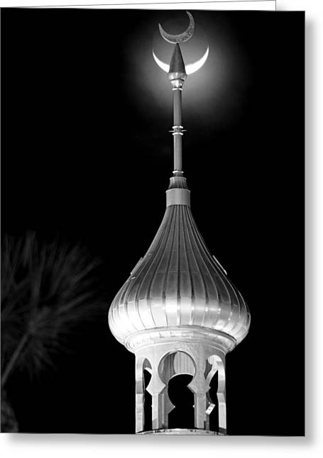 Minaret And Moon Over Tampa Greeting Card