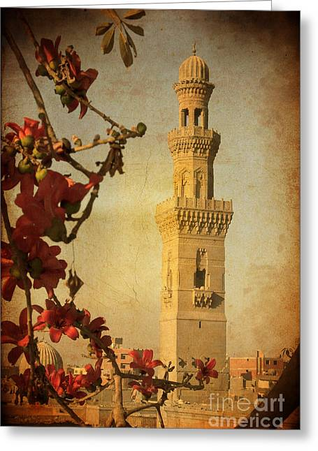 Greeting Card featuring the photograph Minaret In Old Cairo Capital Of Egypt by Mohamed Elkhamisy