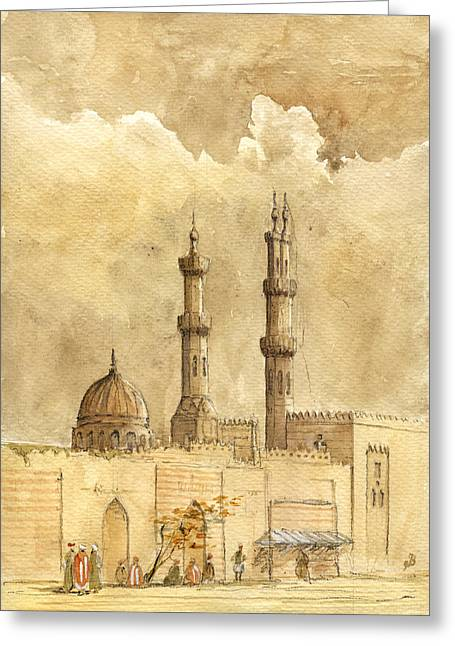 Minaret Of Al Azhar Mosque Greeting Card by Juan  Bosco