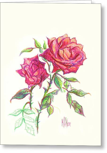Minature Red Rose Greeting Card by Kip DeVore