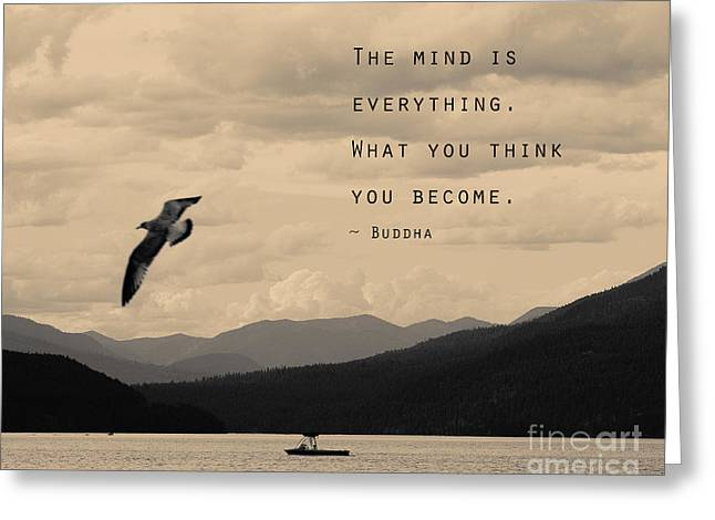 Mind Is Everything- Buddha Quote Greeting Card by Stella Levi