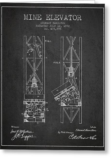 Mine Elevator Patent From 1892 - Charcoal Greeting Card by Aged Pixel