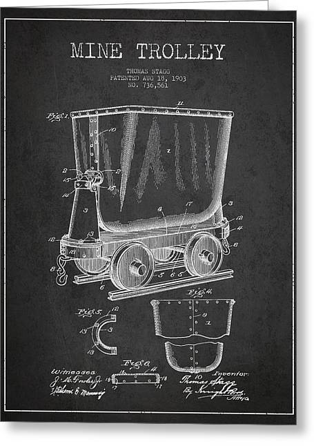 Mine Trolley Patent Drawing From 1903 - Dark Greeting Card by Aged Pixel