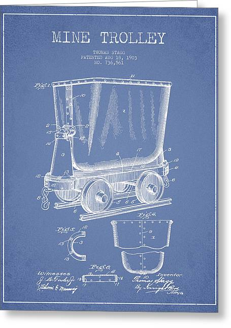 Mine Trolley Patent Drawing From 1903 - Light Blue Greeting Card by Aged Pixel