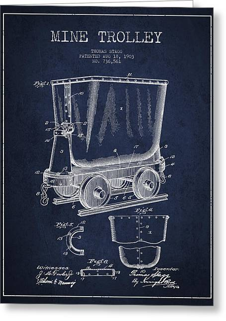 Mine Trolley Patent Drawing From 1903 - Navy Blue Greeting Card by Aged Pixel
