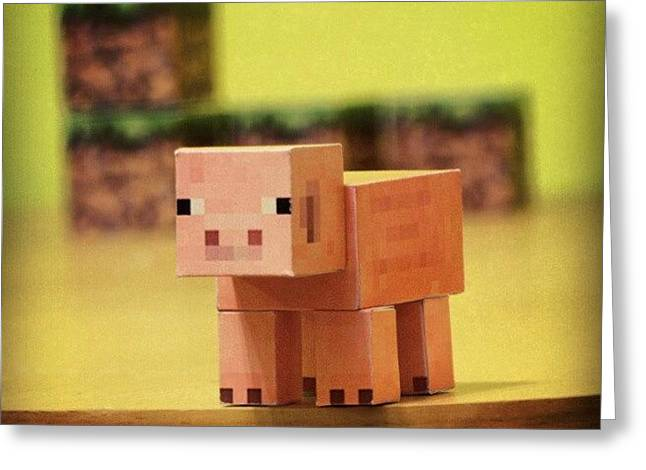 #minecraft #pig #piggy #paper #papercut Greeting Card