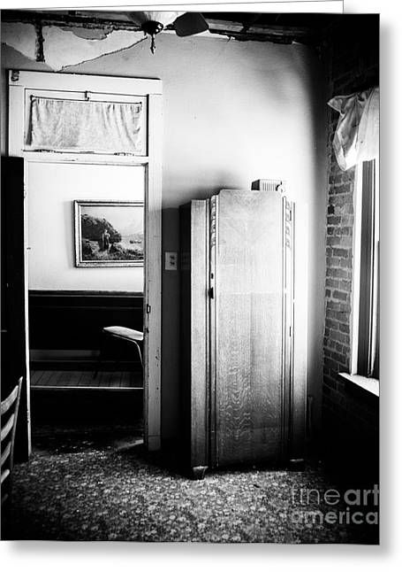 Mineola Beckham Hotel Room In Bw Greeting Card by Sonja Quintero