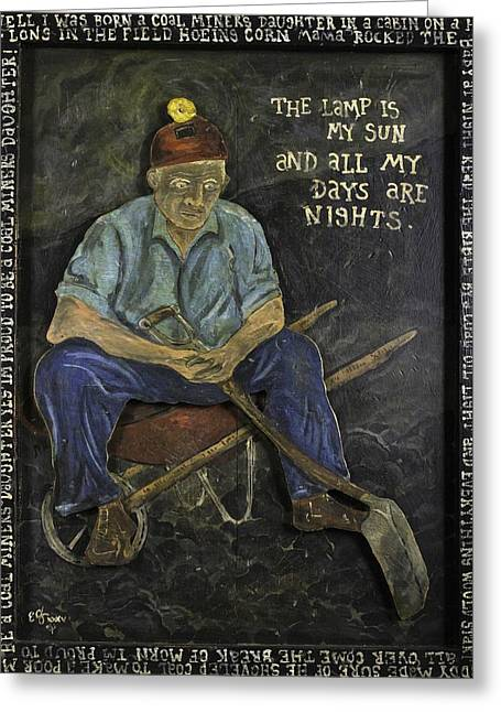 Miner - Lamp Is My Sun Greeting Card by Eric Cunningham
