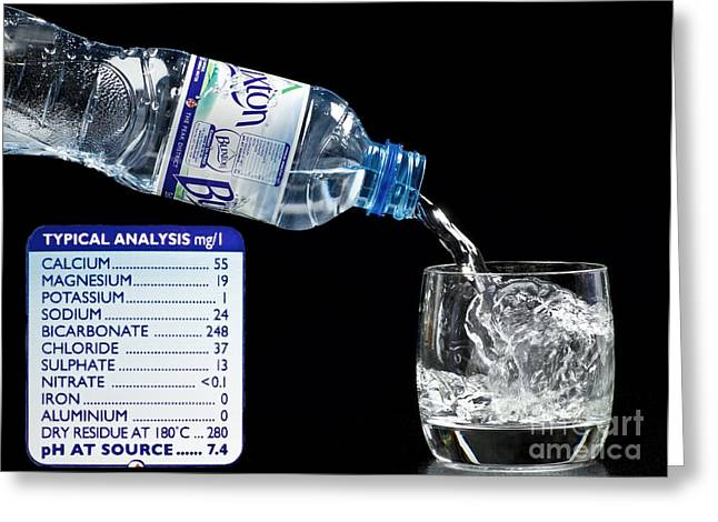 Mineral Water And Its Mineral Content Greeting Card by Martyn F. Chillmaid