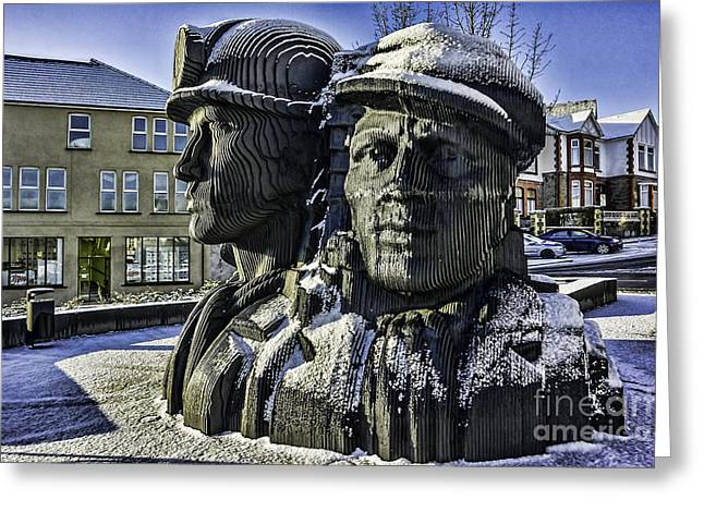 Miners In The Snow 1 Greeting Card by Steve Purnell