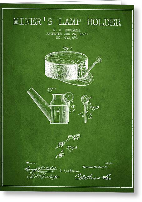 Miners Lamp Holder Patent From 1890 - Green Greeting Card by Aged Pixel