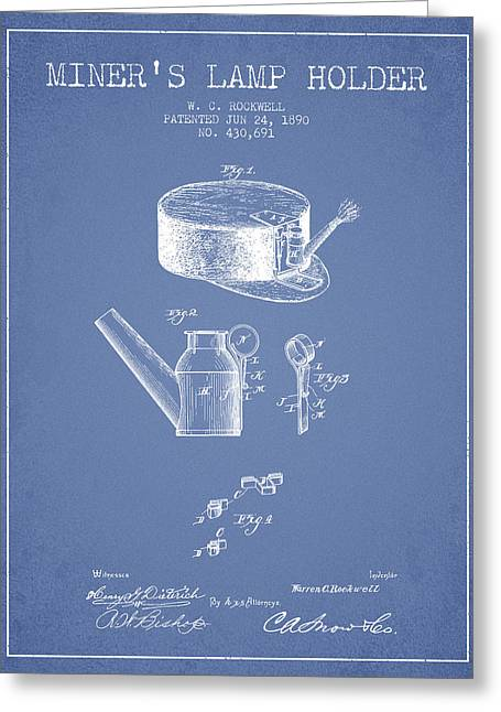 Miners Lamp Holder Patent From 1890 - Light Blue Greeting Card by Aged Pixel