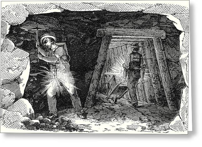 Miners Lamp. Miners At Work Greeting Card by English School