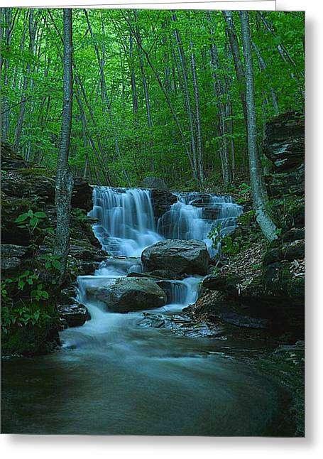 Miners Run Falls #1 - Evening Glow Greeting Card