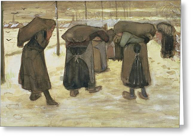Miners Wives Carrying Sacks Of Coal Greeting Card by Vincent van Gogh