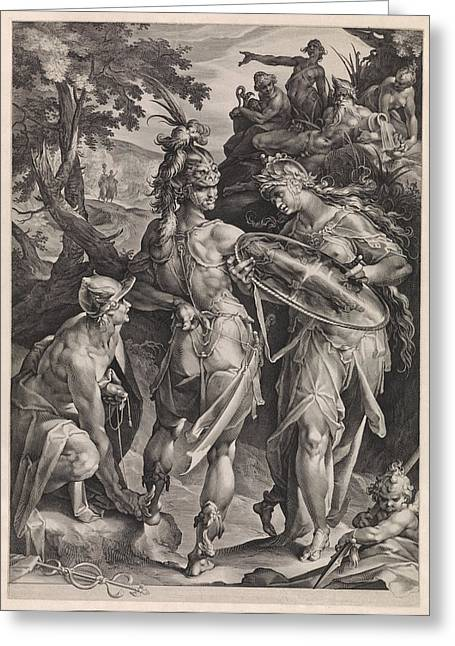 Minerva And Mercury Arm Perseus Greeting Card by Jan Harmensz. Muller And Bartholomeus Spranger