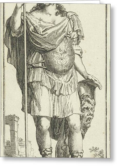 Minerva As A Personification Of Reason, Print Maker Arnold Greeting Card by Arnold Houbraken And Leonard Schenk