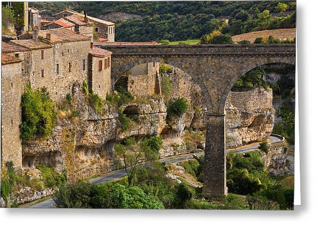 Minerve Village And The Bridge Greeting Card by Panoramic Images