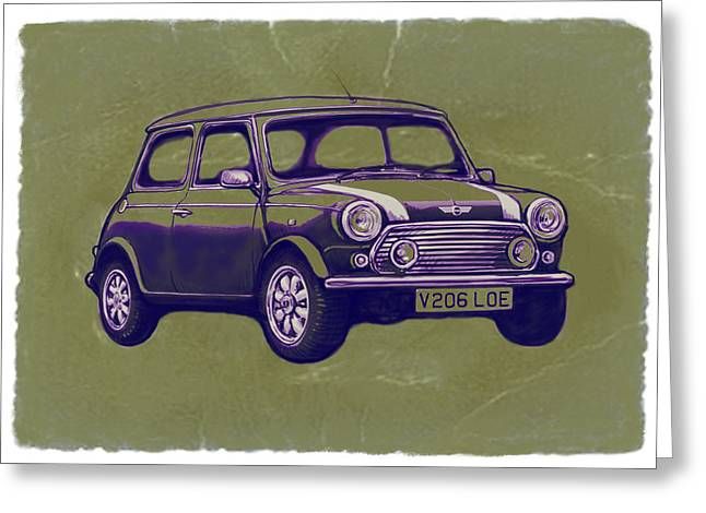 Mini Cooper - Car Art Sketch Poster Greeting Card by Kim Wang