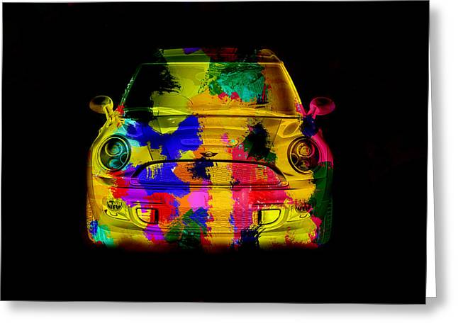 Mini Cooper Colorful Abstract On Black Greeting Card