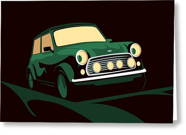 Mini Cooper Green Greeting Card