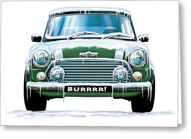 Mini Cooper On Ice Greeting Card by David Kyte