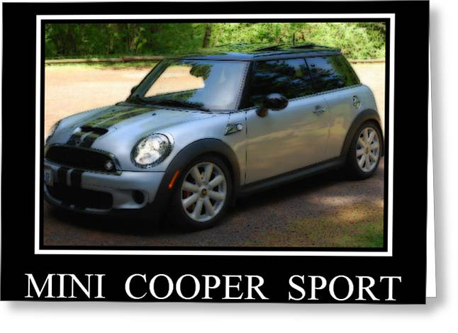 Mini Cooper Sport Greeting Card by Kathy Sampson