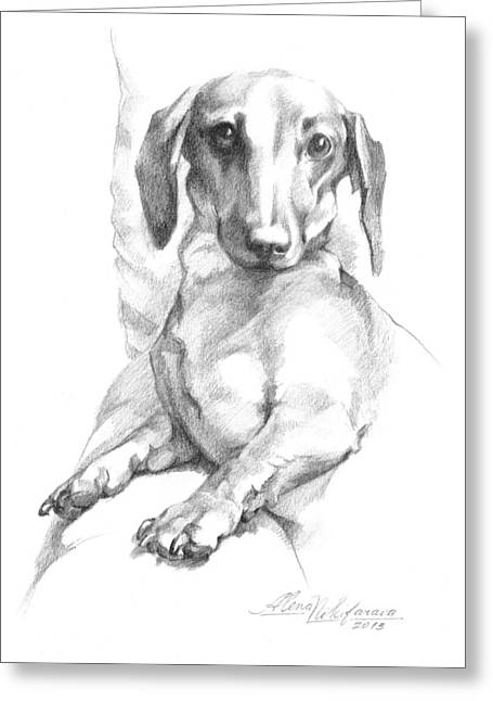 Mini Dachshund Sitting In A Chair Greeting Card