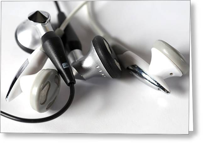 Mini Headphone Greeting Card by Kenneth Feliciano