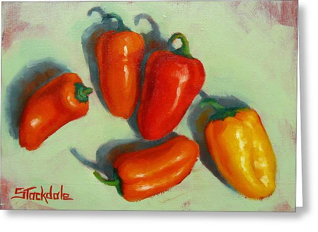 Greeting Card featuring the painting Mini Peppers Study 1 by Margaret Stockdale