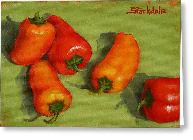 Greeting Card featuring the painting Mini Peppers Study 2 by Margaret Stockdale