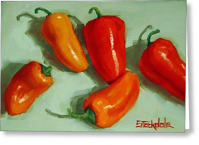Mini Peppers Study 3 Greeting Card by Margaret Stockdale