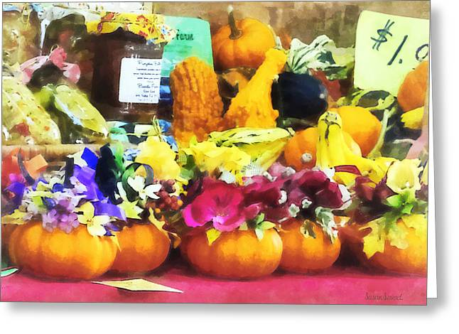 Mini Pumpkins And Gourds At Farmer's Market Greeting Card by Susan Savad