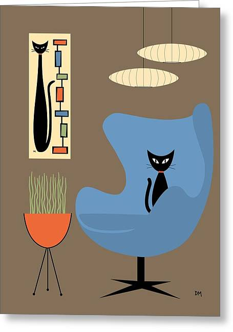 Greeting Card featuring the digital art Mini Rectangle Cat by Donna Mibus