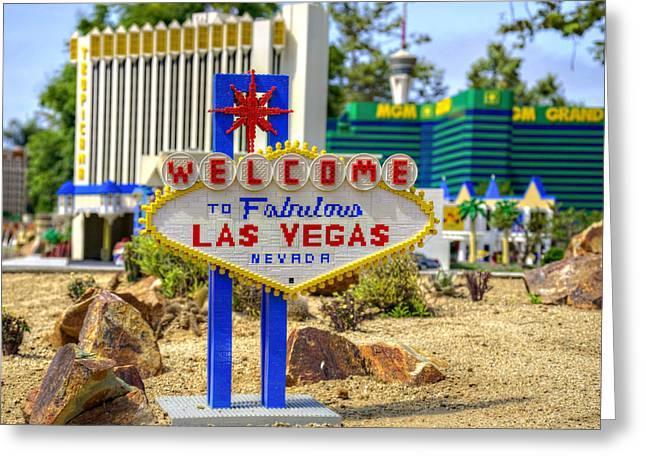 Mini Vegas Greeting Card by Ricky Barnard