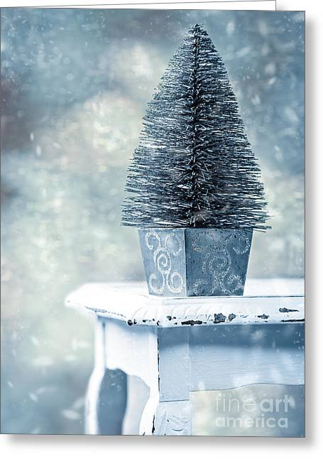 Miniature Christmas Tree Greeting Card by Amanda Elwell