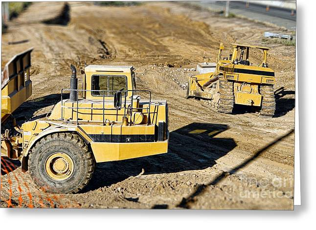 Dozer Greeting Cards - Miniature Construction Site Greeting Card by Olivier Le Queinec
