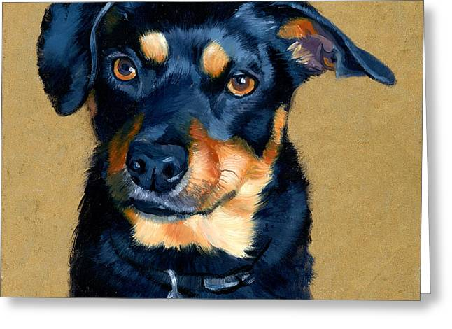 Miniature Pinscher Dog Painting Greeting Card