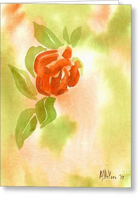 Greeting Card featuring the painting Miniature Red Rose II by Kip DeVore