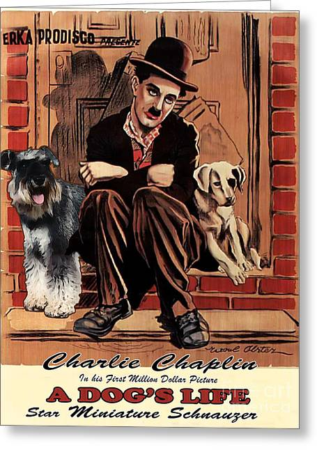 Miniature Schnauzer Art Canvas Print - A Dogs Life Movie Poster Greeting Card