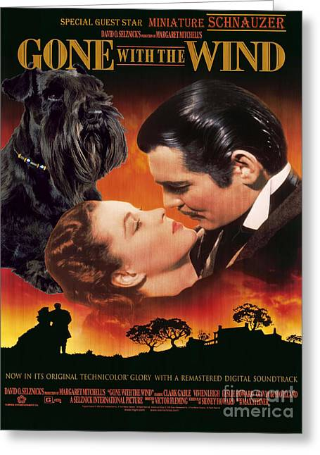 Miniature Schnauzer Art Canvas Print - Gone With The Wind Movie Poster Greeting Card