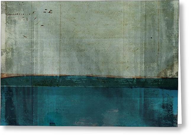 Minima - S02b Turquoise Greeting Card by Variance Collections