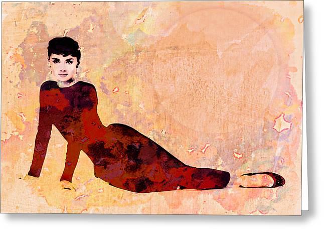 Minimal Audrey Hepburn Greeting Card by Georgiana Romanovna
