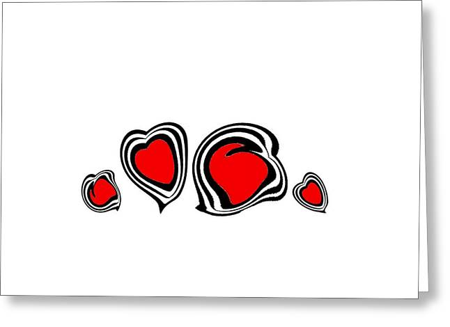 Hearts Minimalism Black White Red Abstract Art No.105. Greeting Card
