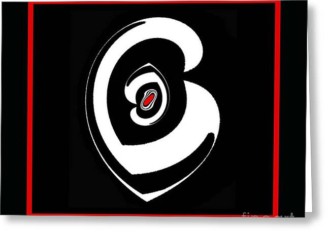 Minimalism Black White Red  Love Art No.31. Greeting Card