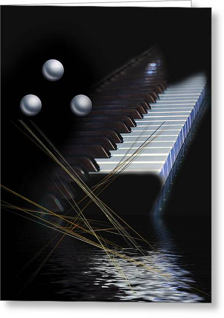 Greeting Card featuring the digital art Minimalism Piano by Angel Jesus De la Fuente